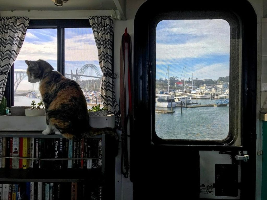 Anna loves her harbor view, brought to her by RV life.