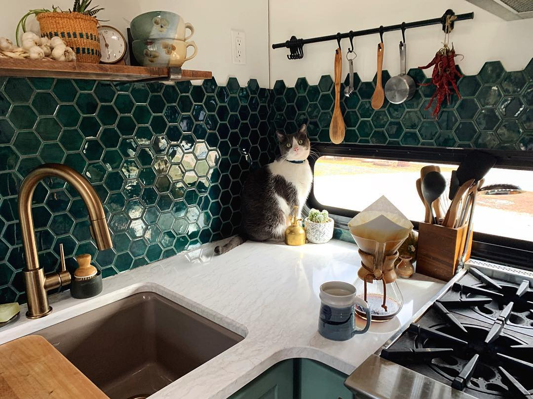 Adding a backsplash to your RV kitchen makes the space so much more homey.