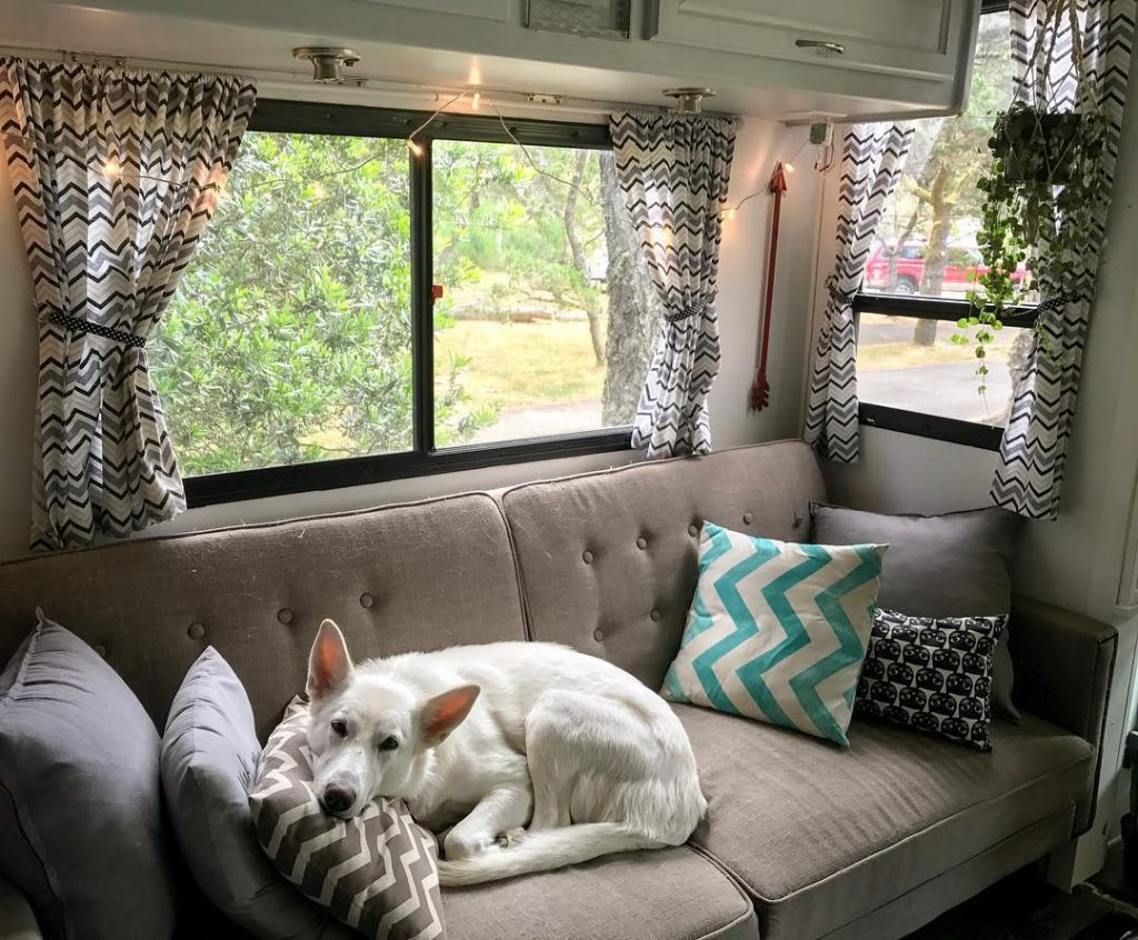 Installing curtains in your RV can add a lot of flair.