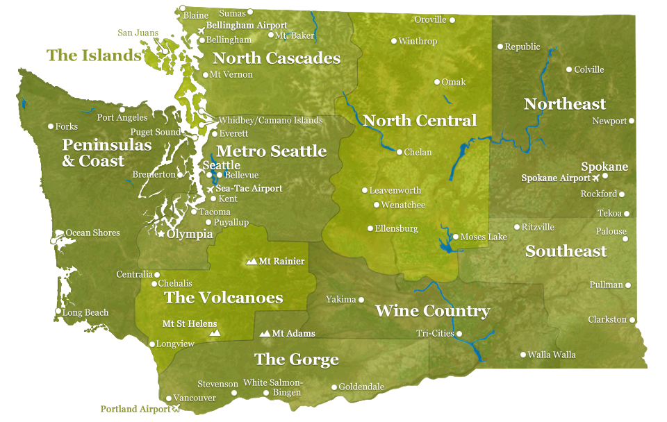 Washington State Map by Regions