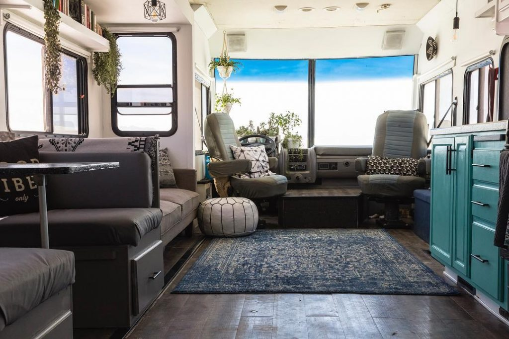 When updating your RV's living room, it's important to anchor any new furniture installed.