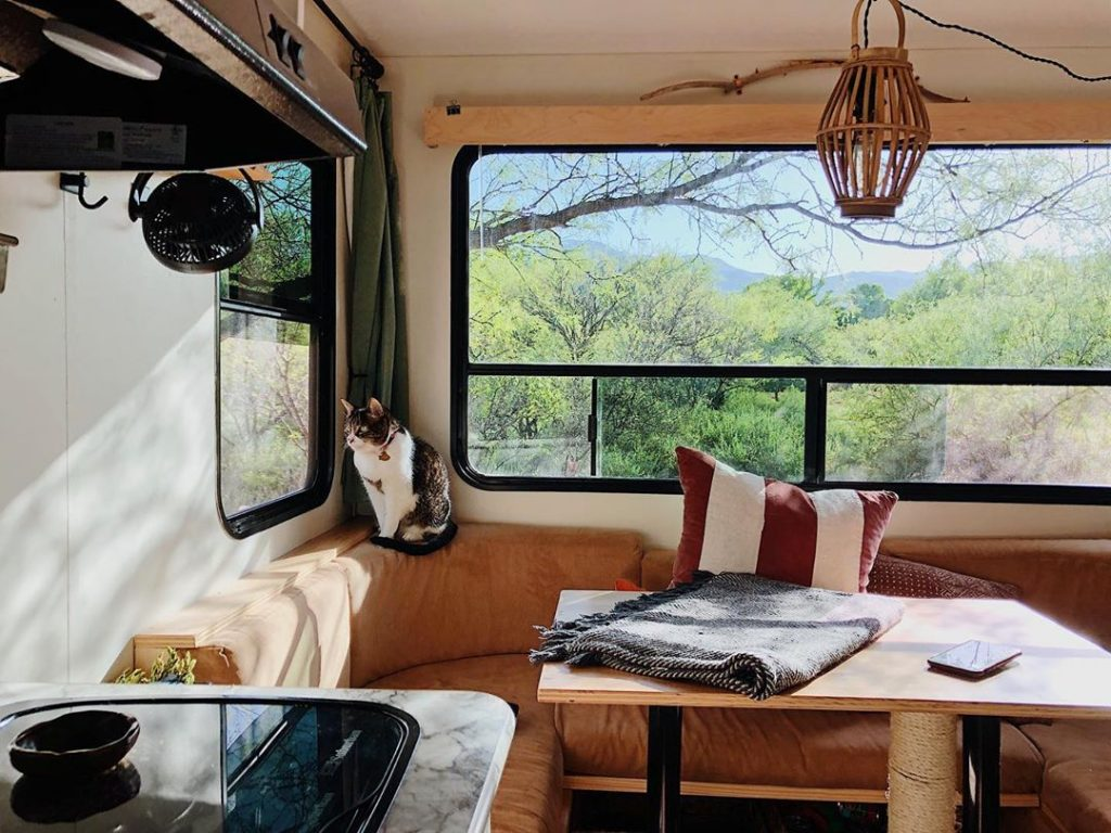 The McCrea's trailer renovation is warm and rustic.