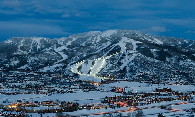 Illuminated ski runs in Steamboat Springs, Colorado make skiing at all times of day possible.