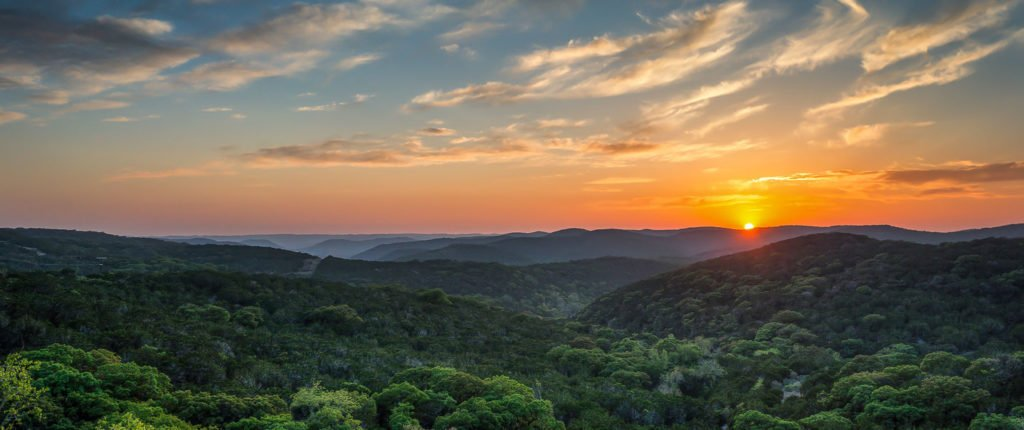 Texas Hill Country view sunset