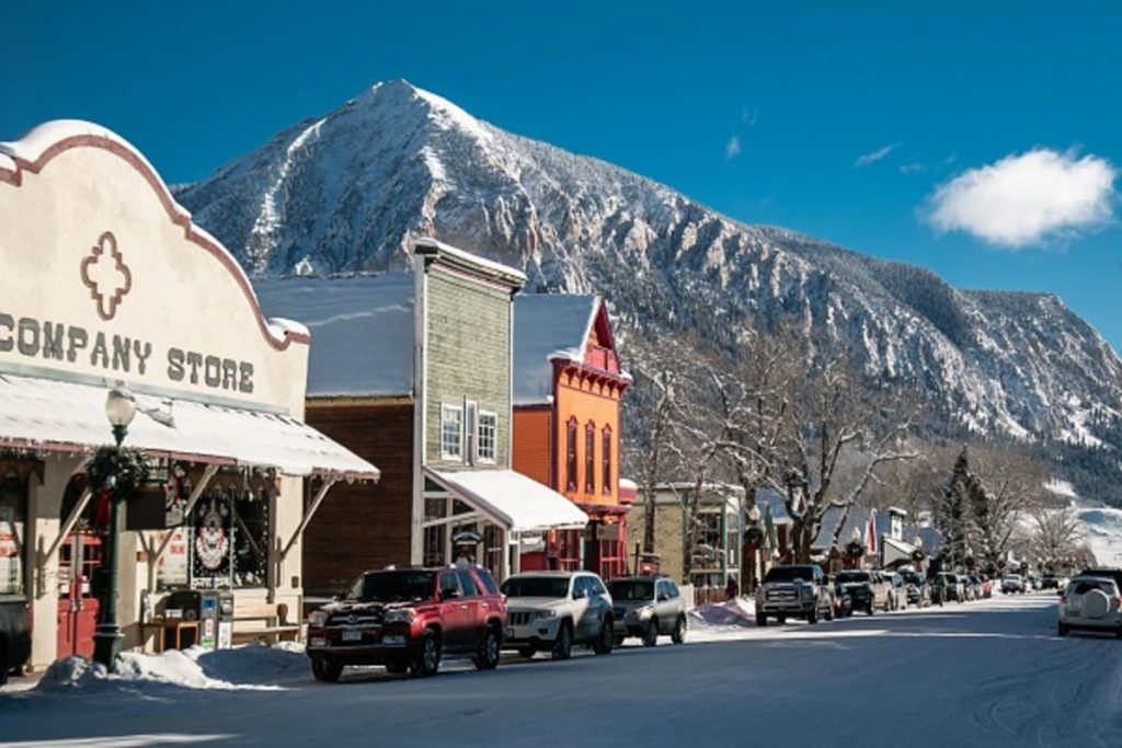 The town of Crested Butte, Colorado is perfect for winter skiing adventures.