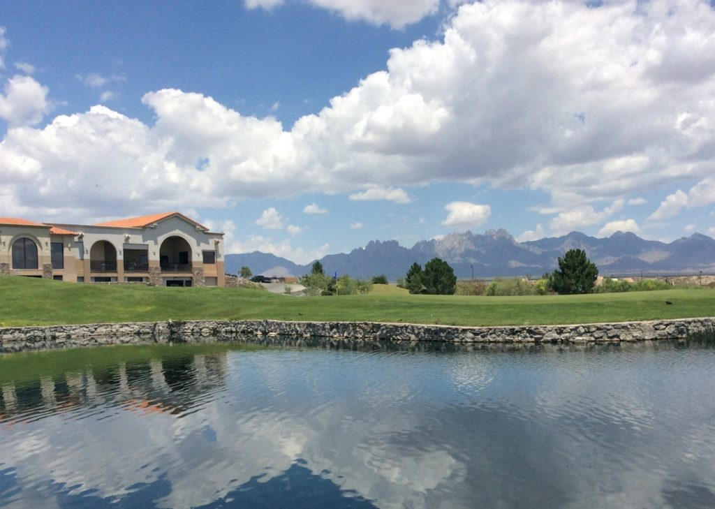 Lake view with mountains in the background at a Sonoma Golf Course in southern New Mexico