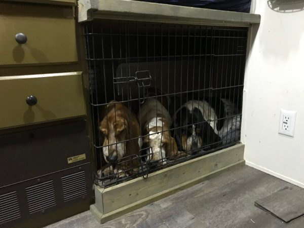 Built in pet crates can make your RV life much easier.