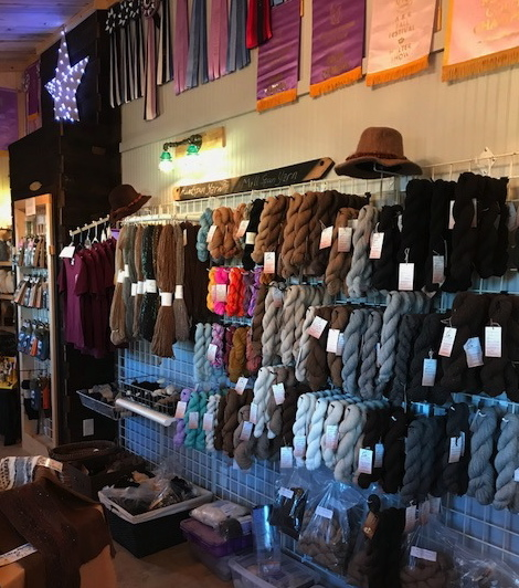 The on site store sells a variety of alpaca fiber products.