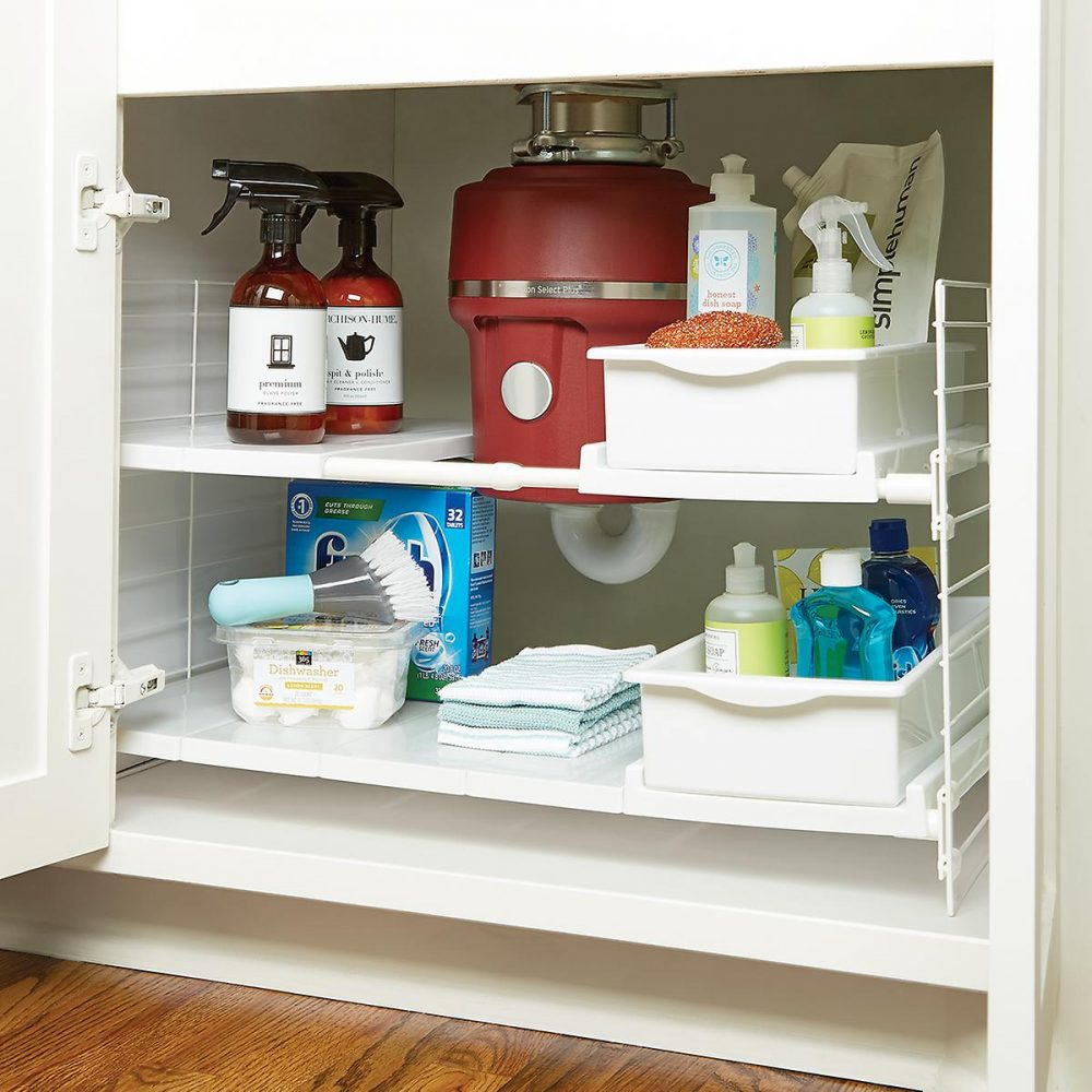 Bins are a great way to hold your toiletry items in place in a small space.