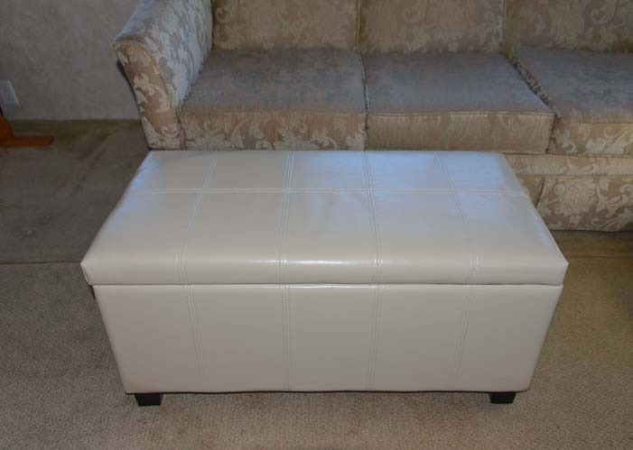 Storage ottomans are a great way to organize a small space.