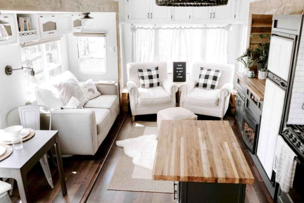 Adding throw pillows to your RV is an easy way to decorate.