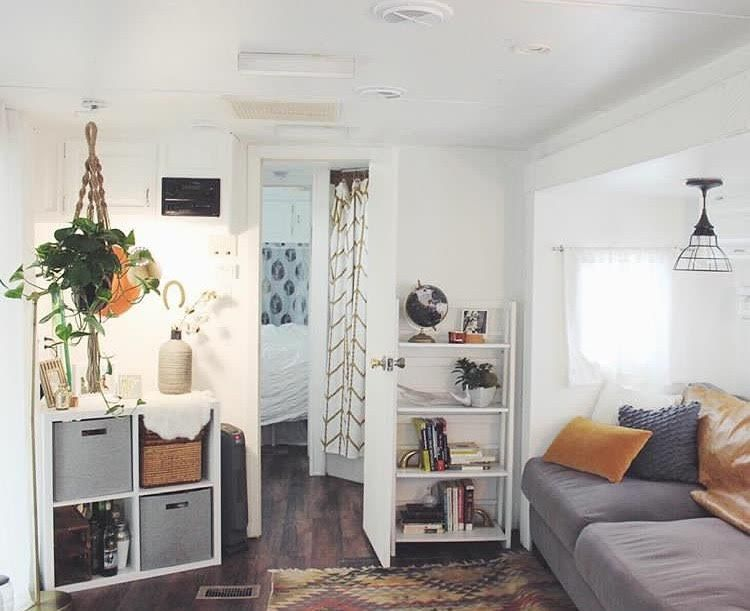 Hanging plants in an RV is a perfect way to display them.