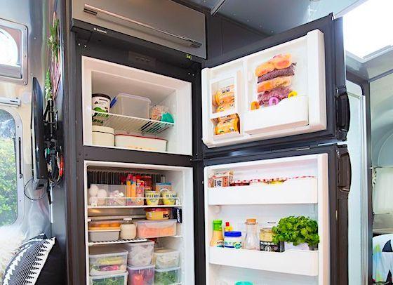 A fully stocked RV refrigerator