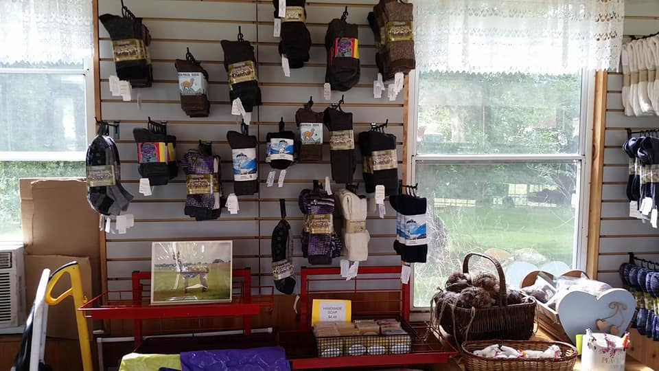 A wall lined in alpaca fiber socks and other products.