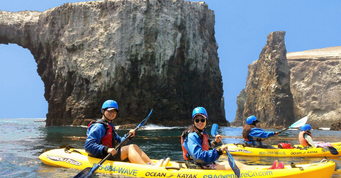 Guided kayaking trips are offered on several of the islands.