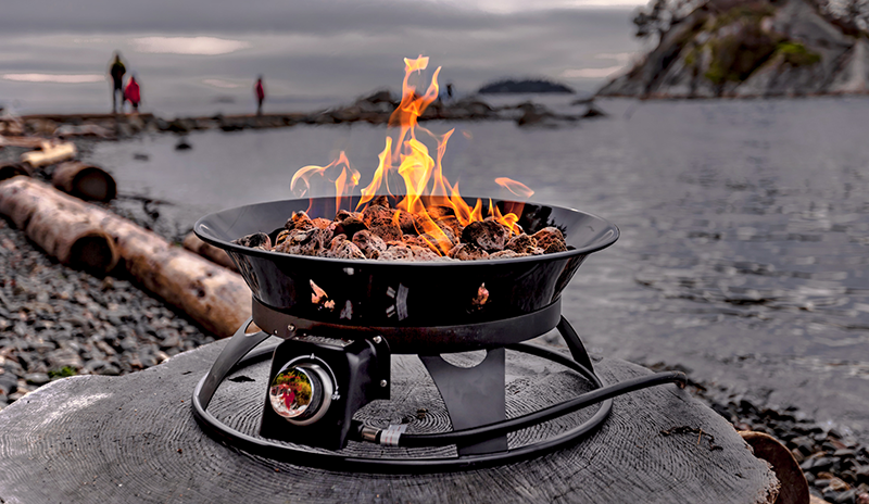 This propane fire pit is very eco-friendly and requires no wood for burning.