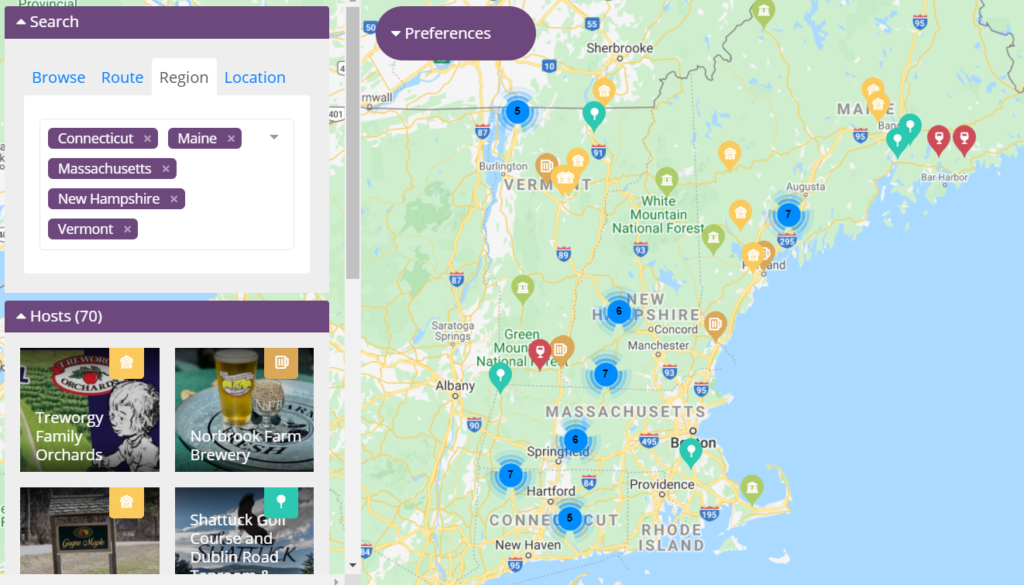 This regional New England search shows potential stops for a saved trip.