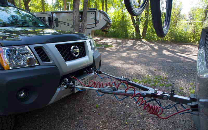 Flat towing utilizes a simple tow bar.