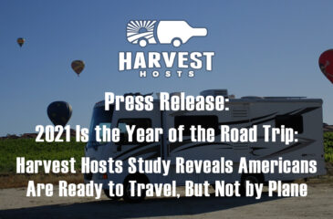 Press Release: 2021 Is the Year of the Road Trip: Harvest Hosts Study Reveals Americans Are Ready to Travel, But Not by Plane