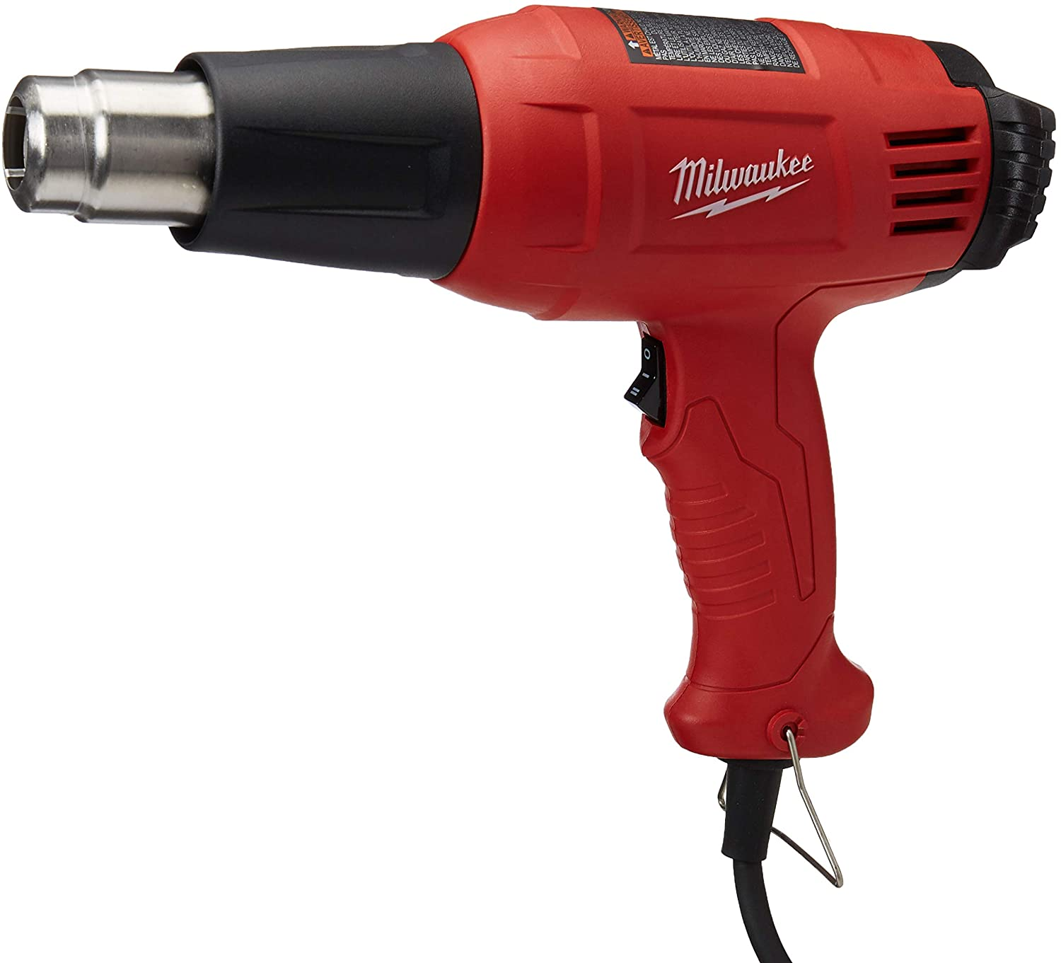 A red Milwaukee-brand heat gun that can be used for frozen pipes