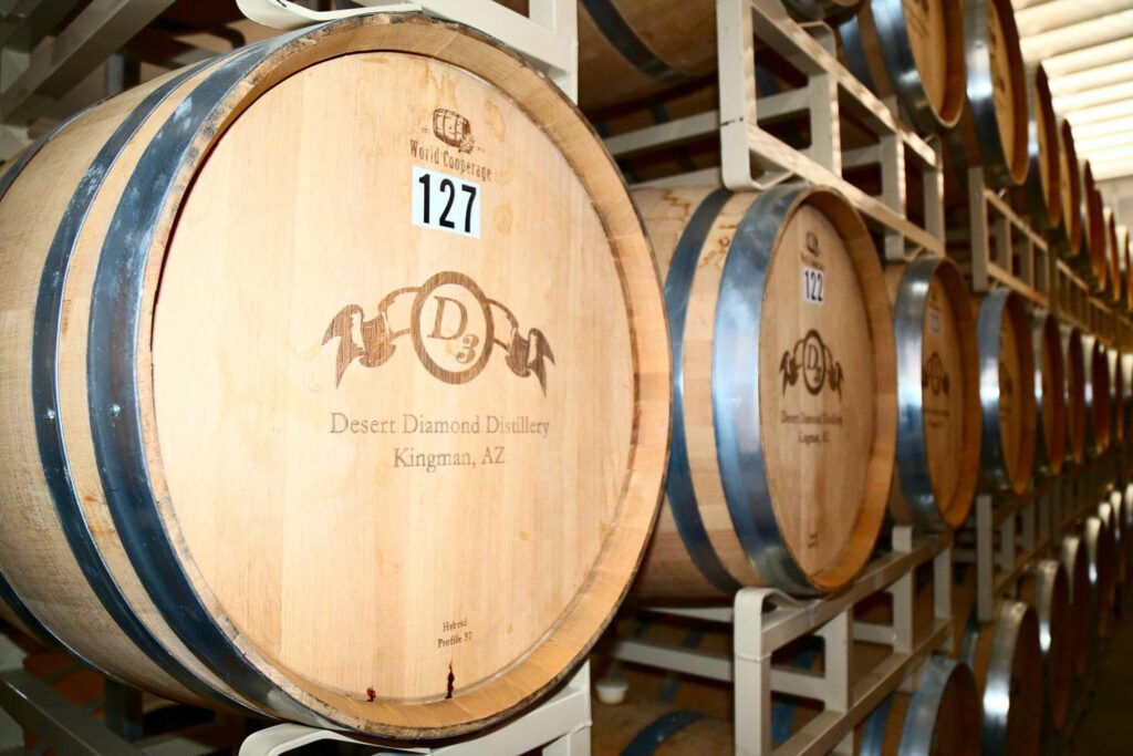 Up-close view of the distillery barrels