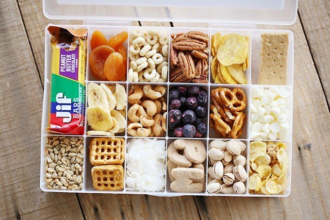 With kids, it may be easiest to pack easy-to-grab snacks to have nearby while traveling.