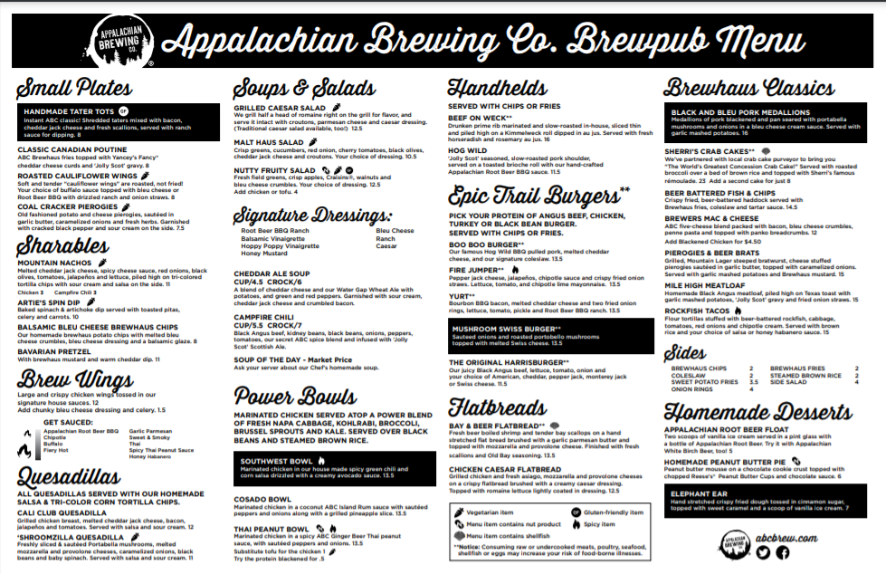The brewpub menu features a wide variety of foods and cuisines.