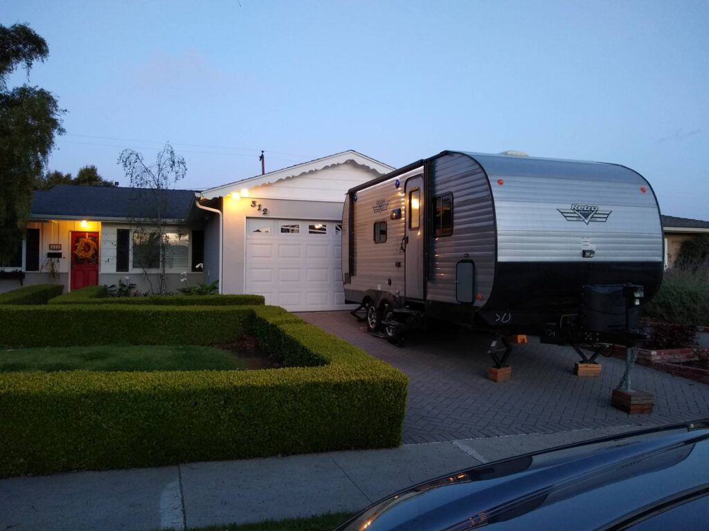 If you are storing your RV at home, you may be able to park it in your driveway.