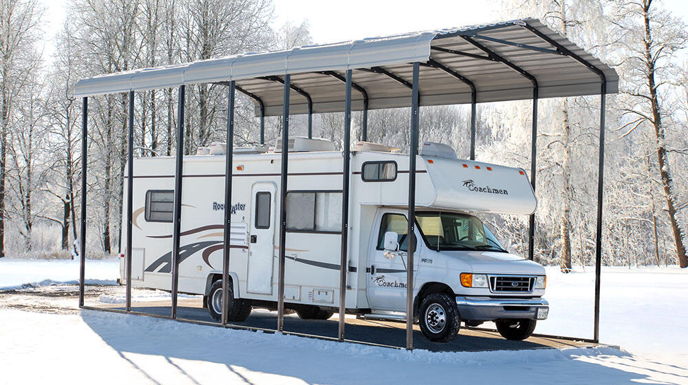 If you are storing your RV at home, consider setting up covered storage.