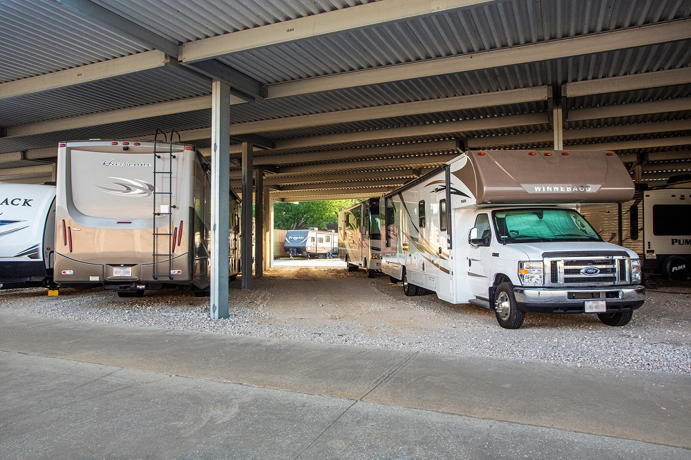 RV storage poptions range from parking spaces to covered storage to indoor garages.
