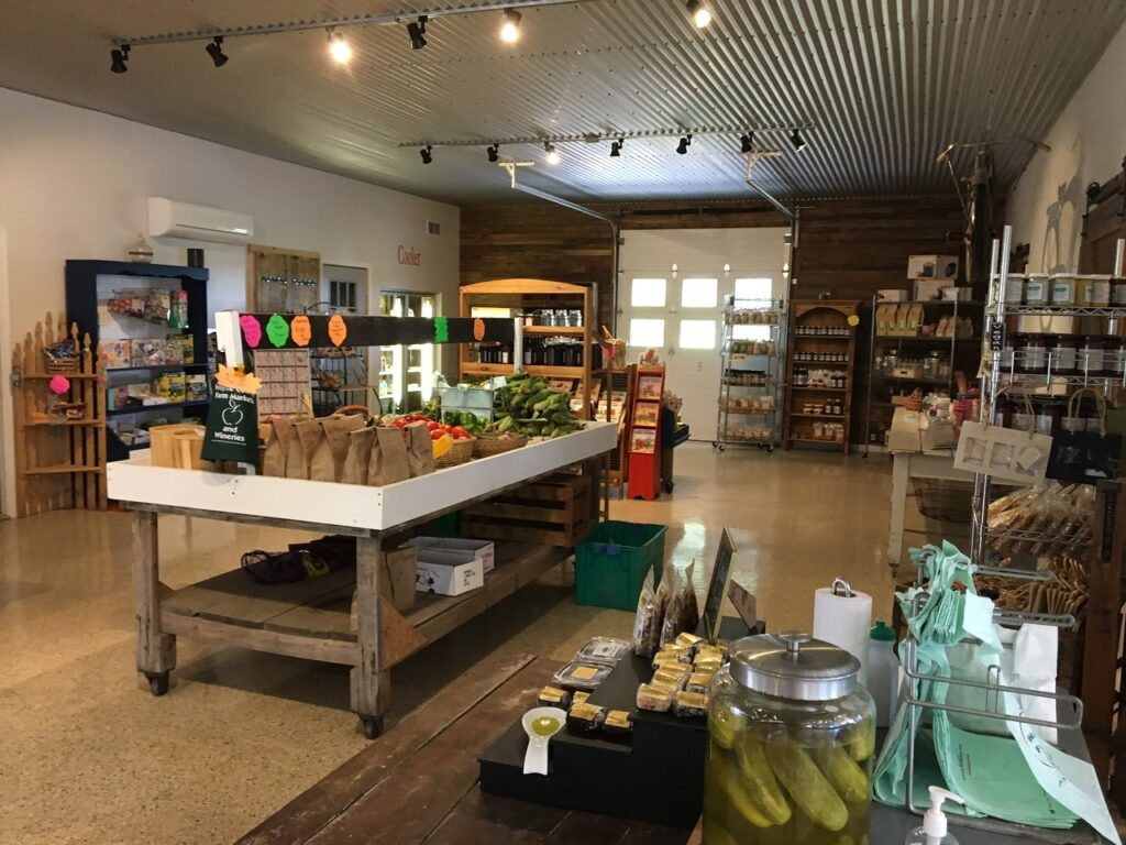 The farm store is stocked with all sorts of local goods.