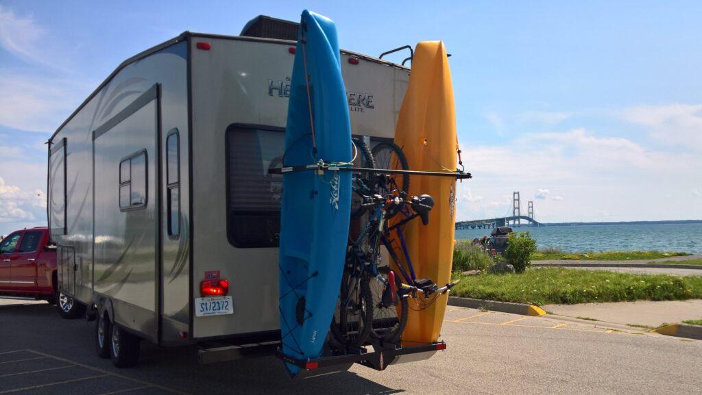 Kayaking is a great way to stay active on the road.